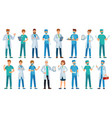 hospital staff clinic workers pharmacist nurse vector image vector image