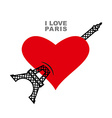 I love Paris Red heart symbol of love and Eiffel vector image vector image