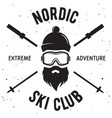 label ski club vintage mountain winter badge vector image vector image
