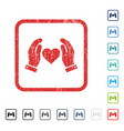 Love care hands icon rubber watermark vector image