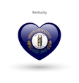 Love Kentucky state symbol Heart flag icon vector image vector image