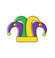 mardi gras jester hat decoration design vector image