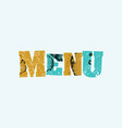 menu concept colorful stamped word vector image vector image