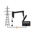 oil drilling machine and an electrical tower vector image