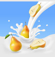 pear falling into the milk splash vector image vector image