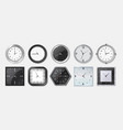 realistic clock square and round metal and vector image vector image