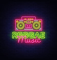 reggae music neon logo reggae neon sign vector image