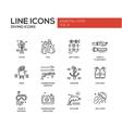 Scuba Diving line design icons set vector image vector image