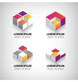 set abstract colorful geometric cube 3d icons vector image