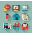set blog icons in flat design style vector image