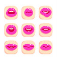 set flat icons with lips vector image