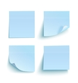 Set of blue sticky notes vector image vector image