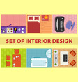 set of interior design view from above vector image