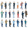 set of isometric standing men vector image