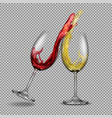set transparent glasses with white and red vector image vector image