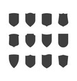 shield icons set protection symbol black on white vector image