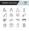 sport icons modern line design set 28 vector image
