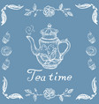 stock tea time with retro teapot and patterned vector image vector image