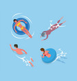 swimming and diving people in pool summer vector image vector image