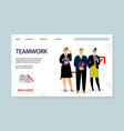 teamwork landing page vector image vector image