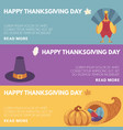 thanksgiving day congratulation horizontal banners vector image