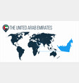 the united arab emirates location on the world vector image vector image