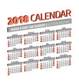 three dimensional 2018 year calendar vector image