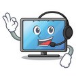 with headphone lcd tv isolated with the character vector image