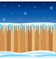Wooden fence in winter vector image vector image