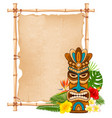 wooden tiki mask and bamboo signboard vector image vector image