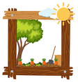 wooden frame template with carrot garden vector image