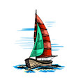 sailing yacht in color vector image