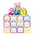 2019 calendar with cute pig vector image vector image