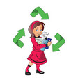 a girl holding plastic bottles for recycle vector image
