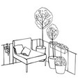 armchair and plants on balcony sketch