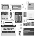 black and white powerful batteries collection vector image vector image