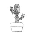 blurred silhouette cactus with two branches in pot vector image vector image