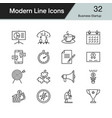 Business startup icons modern line design set 32