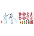 cartoon disinfector disinfectors characters in vector image
