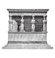 coryatic portico temple in acropolic vintage vector image vector image