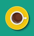 Cup with coffee in flat style Top view vector image