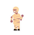cute boy wear mummy costume happy halloween vector image