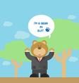cute brown bear cartoon in suit vector image vector image