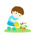 cute cartoon boy watering plant vector image