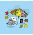Cute doodle bird under the colorful umbrella vector image vector image