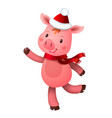 cute pig and santa hat symbol year in vector image