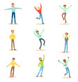 dancing people set young smiling men in free vector image
