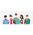 diverse group medics or health workers vector image