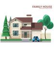 family house car and trees hearth and home flat vector image