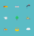 flat icons container faucet farm vehicle and vector image